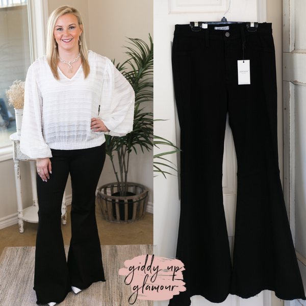 Judy Blue | Can't Forget Her Super Flare Raw Hem Jeans in Black