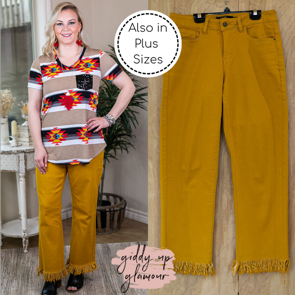 L&B | Unexpected Edge Frayed Ankle Crop Boyfriend Jeans in Mustard Yellow