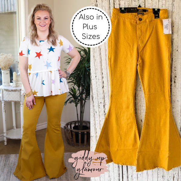 L&B | Here's The Deal Super Flare High Rise Bell Bottom Jeans in Mustard Yellow