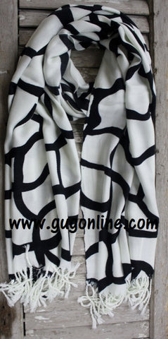 White and Black Giraffe Print Scarf