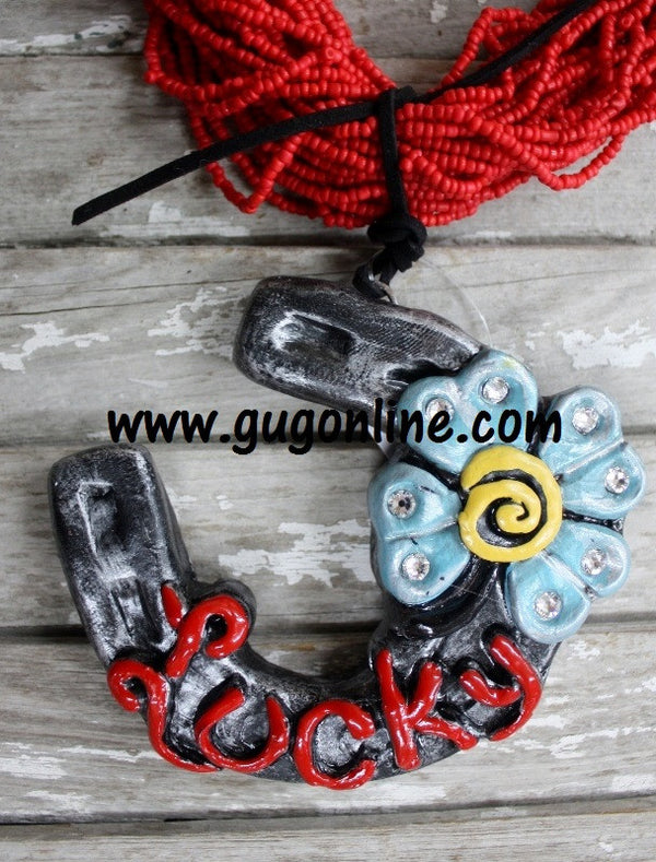 Trendy Boho Handmade Polymer Clay Lucky Horseshoe Pendants