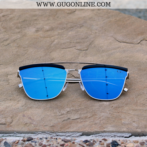 The Kendall Cat Eye Aviator Sunglasses in Blue