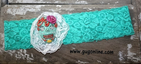 Mint Lace Headband with Mint Sugar Skull Trimmed in Ivory Lace