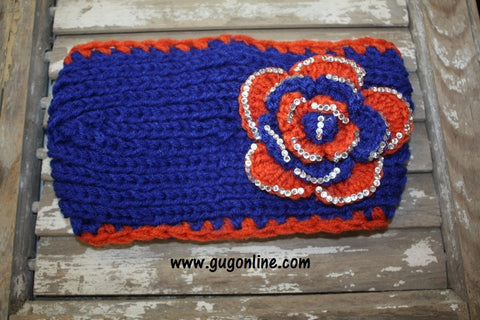Orange and Blue Crystallized Headwrap