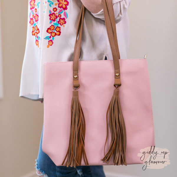 Going Everywhere Tote Bag with Fringe Tassels in Light Pink