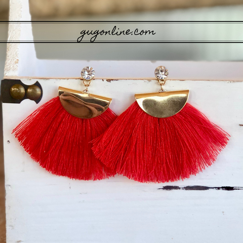 Gold Aruba Fan Tassel Earrings in Red