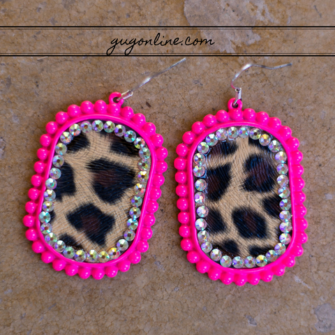 Leopard Oval Earrings in Neon Pink with AB Crystals