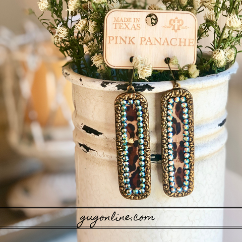 Pink Panache Long Bronze Rectangle Earrings with Leopard Inlay and ST Crystals