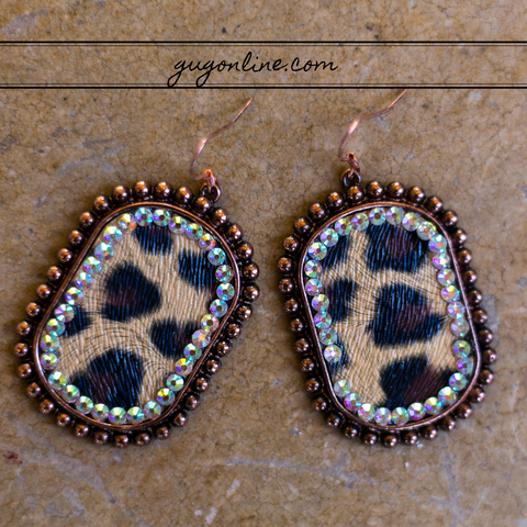 Leopard Oval Earrings in Copper with AB Crystals