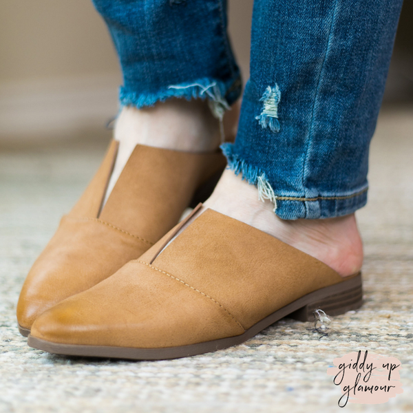 Clued In Flat Slide In Mules with V Cut in Camel