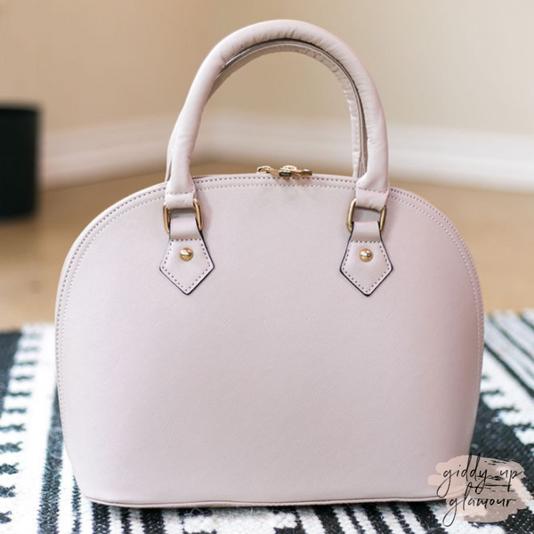 Designer Inspired Medium Dome Satchel in Nude