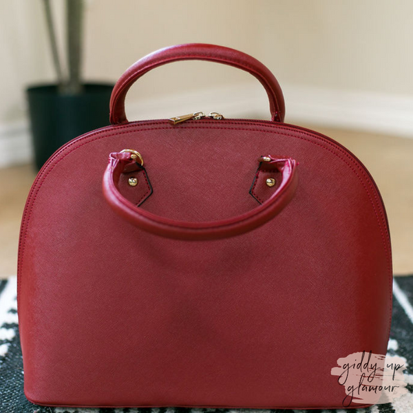 Designer Inspired Large Dome Satchel in Wine