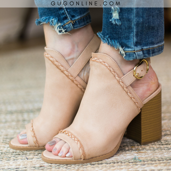 Too Good for You Peep Toe Mule Heels in Blush - NEW MARKDOWN!!