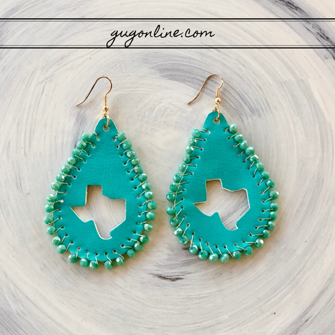 Beaded Leather Teardrop Earrings with Texas Cutout in Turquoise