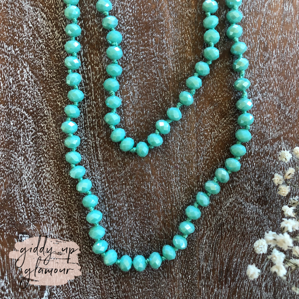 60 Inch Long Layering 8mm Crystal Strand Necklace in Caribbean Green