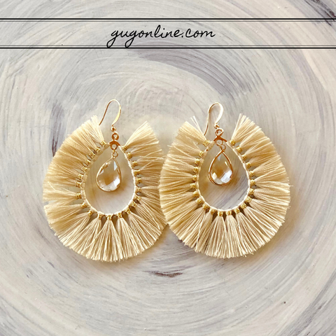 Crystal Teardrop Earrings with Fringe Tassel Trim in Ivory