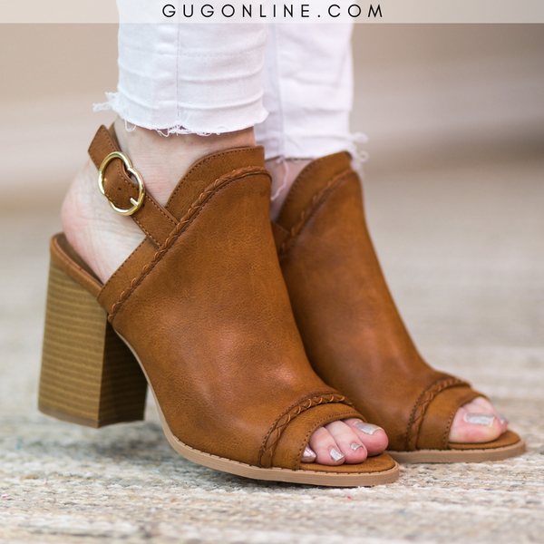 Too Good for You Peep Toe Mule Heels in Cognac - FURTHER MARKDOWN!!