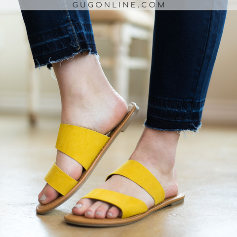 Make Things Easy 2 Band Asymmetrical Slide Sandals in Yellow