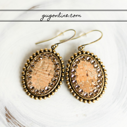 Pink Panache Small Bronze Oval Earrings with Snakeskin Inlay and Light Topaz Crystals