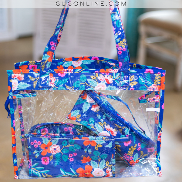 Four Piece Travel Set in Blue Floral