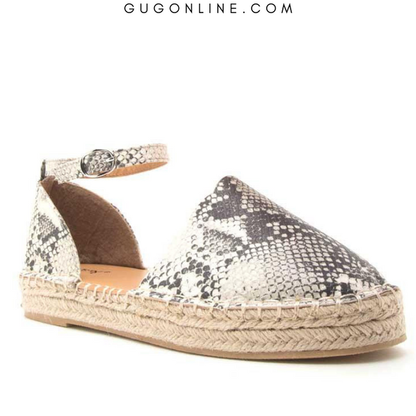 SIZE 5.5, 6, 6.5, 8, 8.5, 9 | Sequoia Scalloped Edge Espadrille Flats in Snake