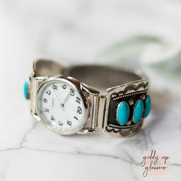 genuine authentic sterling silver adjustable watch band customization stretch band watch face with sleeping beauty kingman turquoise stone inlaid into concho zuni navajo