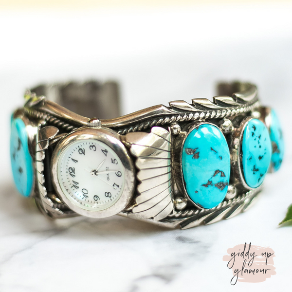 genuine authentic sterling silver cuff watch band customization stretch band watch face with sleeping beauty kingman turquoise stone inlaid into concho zuni navajo M Spencer
