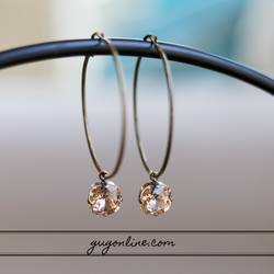 Pink Panache Large Hoop Earrings with Cushion Cut Crystals in Light Topaz