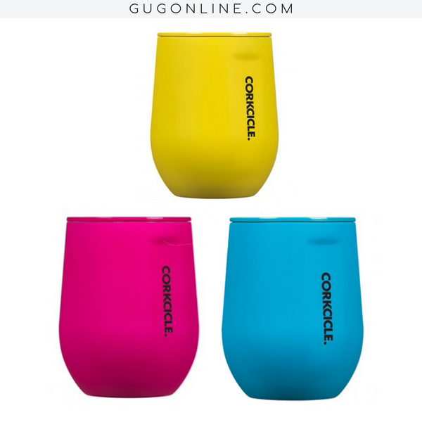 12 oz Corkcicle Neon Lights Collection | Stemless - Neon Pink