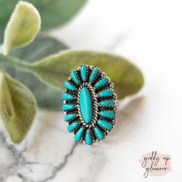 pamela benally genuine authentic navajo handmade zuni sleeping beauty kingman turquoise cluster ring in sterling silver turquoise and co heritage style