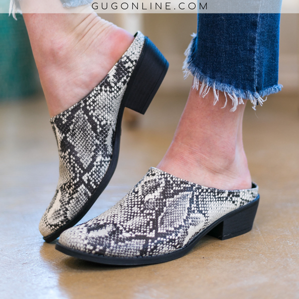 Level Up Heeled Slide On Mules in Snakeskin