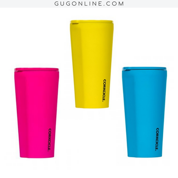 24 oz Corkcicle Neon Lights Collection | Tumbler - Neon Blue