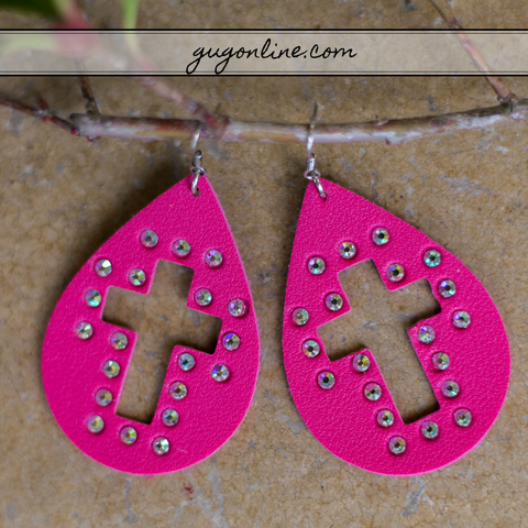Cross Cutout Teardrop Earrings with AB Crystals in Hot Pink