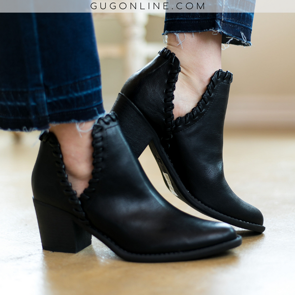 Walk Your Walk Side Slit Ankle Booties in Black - FURTHER REDUCED - Size 5.5 and 6