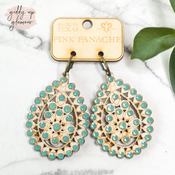 Pink Panache Santa Fe Crackle Teardrop Earrings with Pacific Opal Crystals