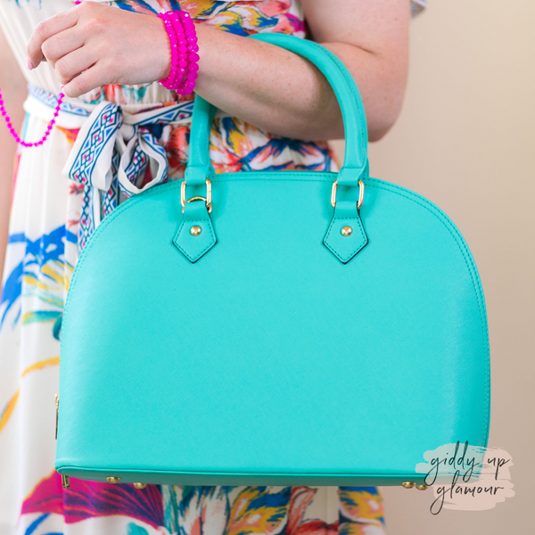 Designer Inspired Large Dome Satchel in Mint