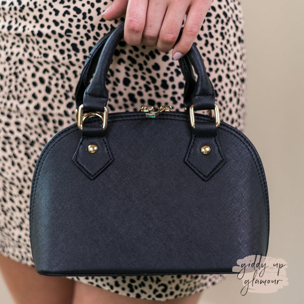 Designer Inspired Small Dome Satchel in Black
