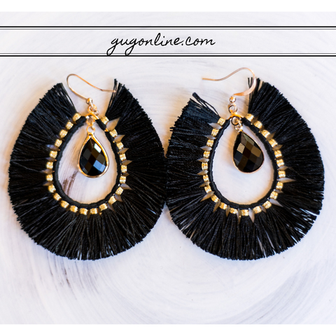 Crystal Teardrop Earrings with Fringe Tassel Trim in Black