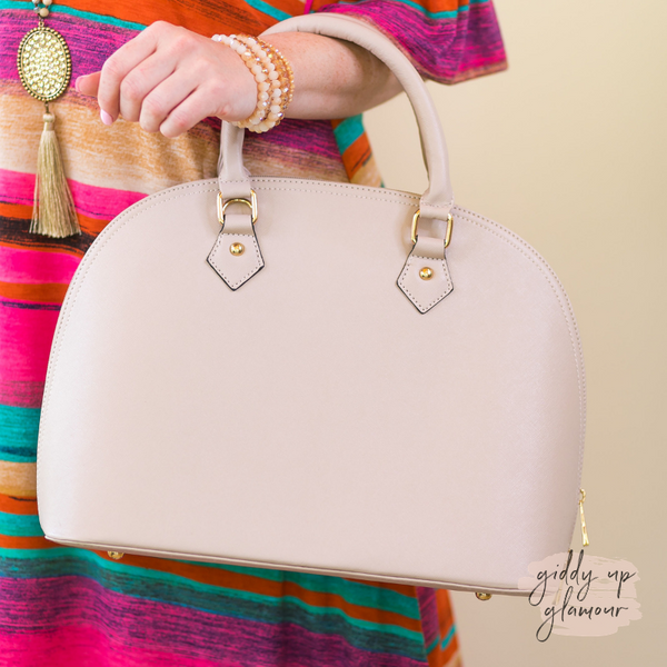 Designer Inspired Large Dome Satchel in Nude