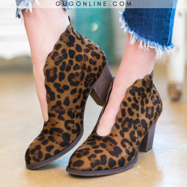 Stylish Trendy Leopard Booties | Scalloped Booties | Everyday Boots