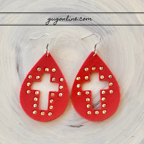 Cross Cutout Teardrop Earrings with AB Crystals in Red