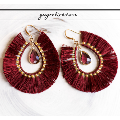 Crystal Teardrop Earrings with Fringe Tassel Trim in Maroon