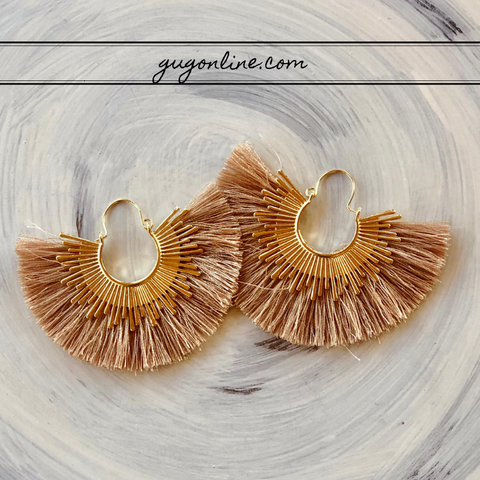Gold Trim Fan Tassel Earrings in Taupe