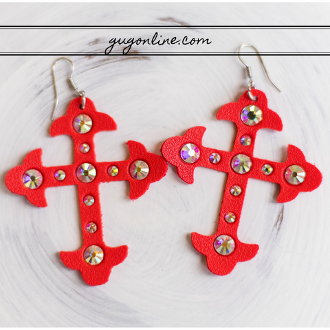 Leather Cross Earrings with AB Crystals in Red