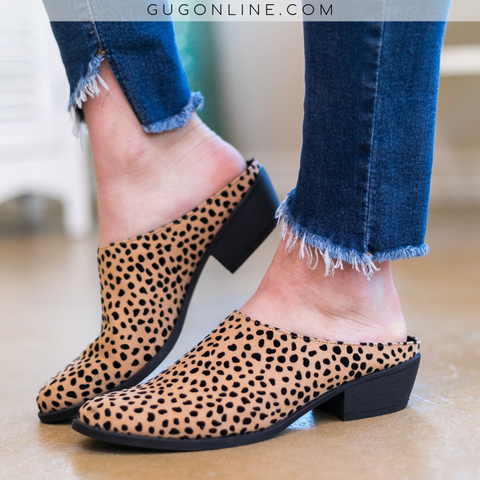 Level Up Heeled Slide On Mules in Cheetah