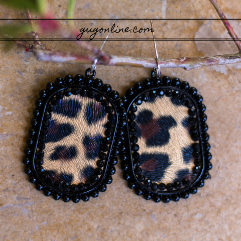 Leopard Oval Earrings in Black with Black Crystals