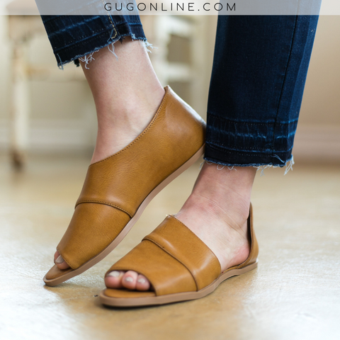 Hard To Miss Side Slit Peep Toe Flats in Cognac