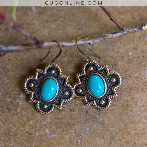 Pink Panache Gold Quatrefoil Earrings with Turquoise Stone