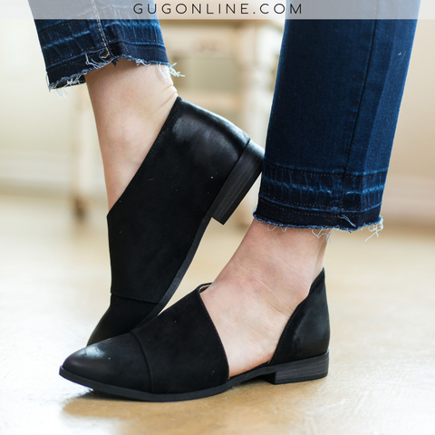 Side Slit Flat Booties in Black