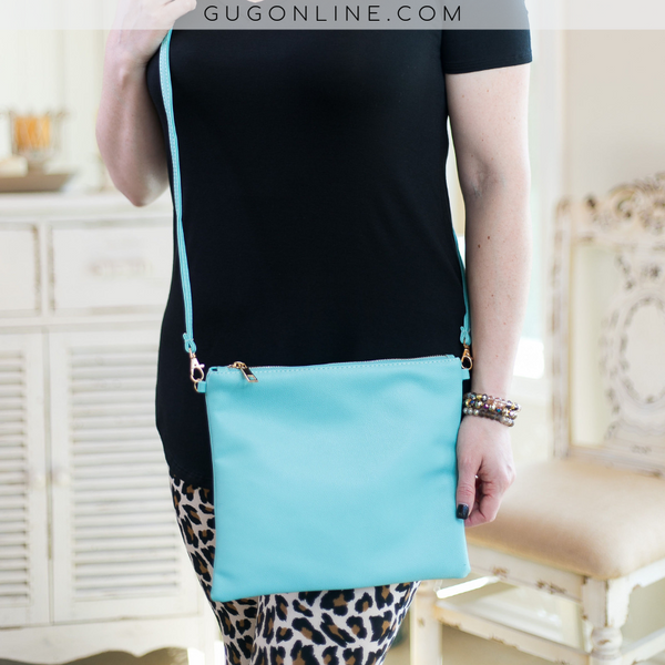 Something New Wristlet or Crossbody Purse in Turquoise